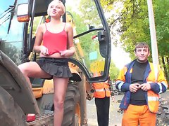 Slutty in public Blond young lady putting a show for the chaps