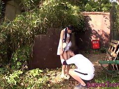 Teensy Seductive japanese lady banged between legs outdoors