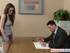 Luscious coed in glasses Molly Jane fuck in classroom