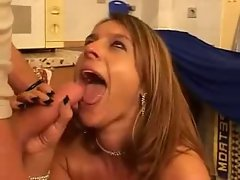 German Mommy in lingerie banged in the kitchen