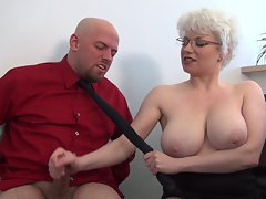 Brutal femdom handjob in office from buxom Cougar