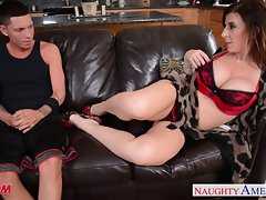 Sensual stepmom Sara Jay gets banged and facialized