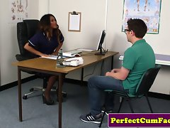Sensual ebony nurse helps patient