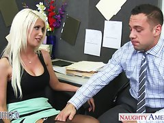 Big titted tempting blonde Riley Jenner screwing in the office