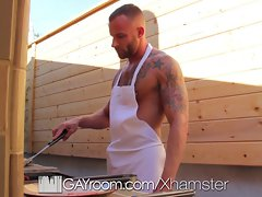 HD GayRoom - Muscle chap screws friend after BBQ