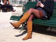 candid Sexual blond pantyhose & suede bo
