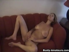 Buxom amateur Lilli masturbates on her first audition