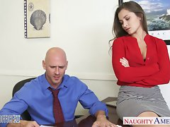 Attractive office slutty girl Dani Daniels riding shaft