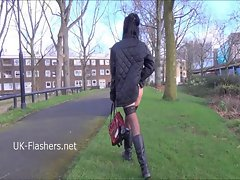 Exhibitionist amateur Gina Lynns public flashing and masturb