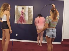 Cruel whipping by two 19 years old mistresses