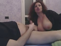 Mega big melons dirty wife gives husband handjob and dick sucking