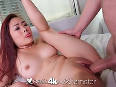 4K Exotic4K - Asian Lea Hart chokes on phallus and rides prick