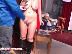 Fresh 24yo newbie demonstrates her mega tits at the CASTING