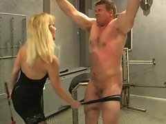 Whipped and caned by sadistic blondie mistress