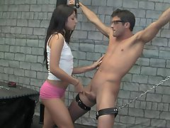homemade, bdsm handjob for a chained 18yo chap