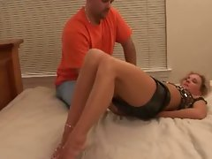 Ebony lad bangs dirty wife while hubby watches. Hubby goes next