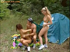 Butthole camping with two raunchy teen vixens