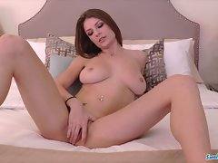 Dillion Carter luscious big titted knockers strokes and swallows cum