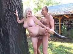 blondie granny is being screwed outdoor