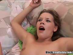 Little tiny breasts White Young woman Filled With Ebony Monstercock