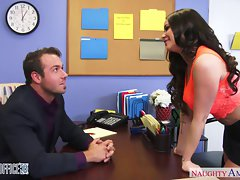 Top heavy dark haired office slutty girl Rachele Richey banging