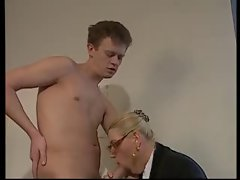 Light-haired Aged WITH Extremely large tits & GLASSES Shagged IN THE OFFICE