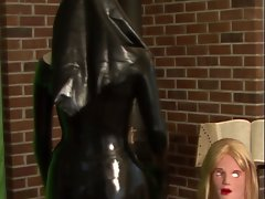 Rubber Nun Poses With Wench Silicone Mask