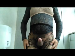 Crossdresser expose your clit for you in lingerie