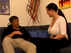 Nice looking German Solid dark haired with extremely large tits begins banging