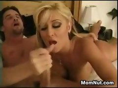 Luscious Tempting blonde Slutty mom Admiring His Shaft