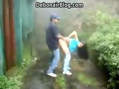 Sensual Randy indian college couple stroking and banging standing and doggy style outdoors MMS