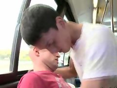 Gay twink rides throbbing shaft whille riding on the bus