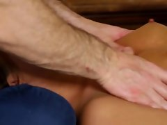 Shy slutty girl lets her sneaky masseur bang her brains out