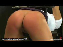 Bound bent over slutty girl butt flogged and clothes stripped off