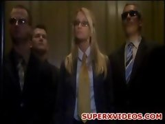 Jessica Drake with three happy chaps in elevator
