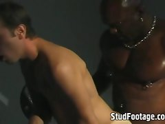 Interracial gay sex on the bench press
