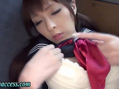 Asian high school teenager masturbates in the car