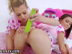 Bum toyed lesbo gets her bum gaped