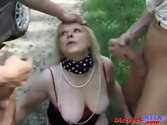 Prostitute Banged Outdoors by Two Attractive Chaps