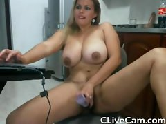 Voluptuous Latin Filthy bitch dildoes her pussy on cam