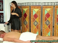 Sexual masseuse dark haired girlie arouses her client