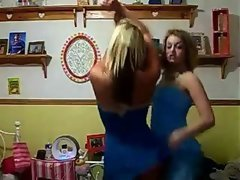 Two luscious blond webcam models dancing in luscious short skirts