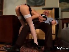 Maid in white stockings loves stroking