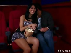 Amabella shagging with two fellows in cinema