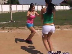 Volleyball sassy teens love a attractive tiny make out outdoors