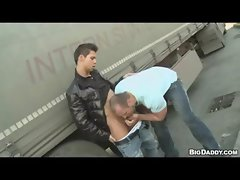 Muscle Stud Picks Up Big Truck Driver in Public Sex for Money