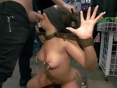 Tattooed cunt in public library gets tied then gets banged in group perversion