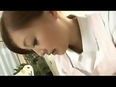 Nice looking chesty seductive japanese maid gives hand n blow