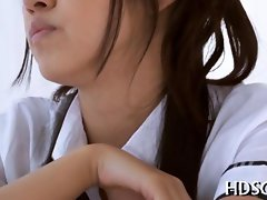 Succulent schoolgirl with big pretty eyes caresses her teacher off in Point of view