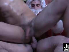 Brenner Boltons stiff bum gets shagged by muscular Santas raw dick